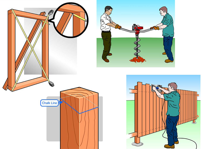 Vector images for fence construction tutorial