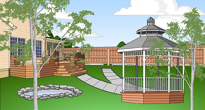 Vector image of a rennovated back yard