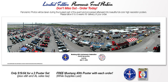 Printed banner used to sell panoramics at Mustang car show