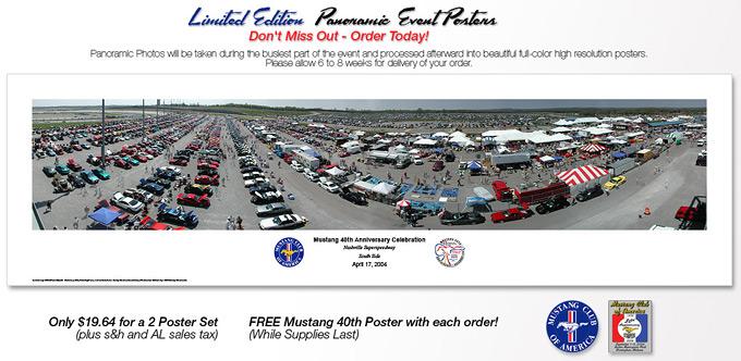 Printed banner used to sell panoramics at Mustang car show