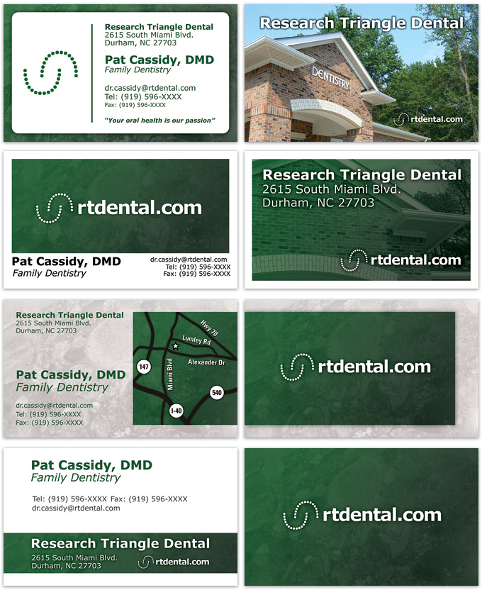 Business card designs for Research Triangle Dental